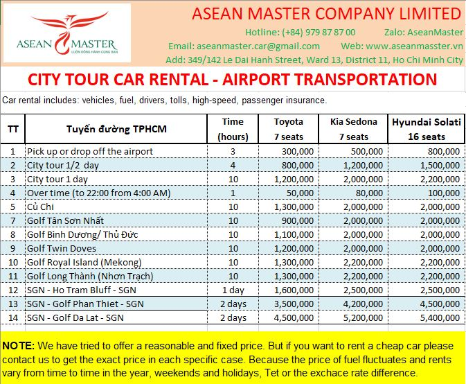 Car rental Price List to play golf